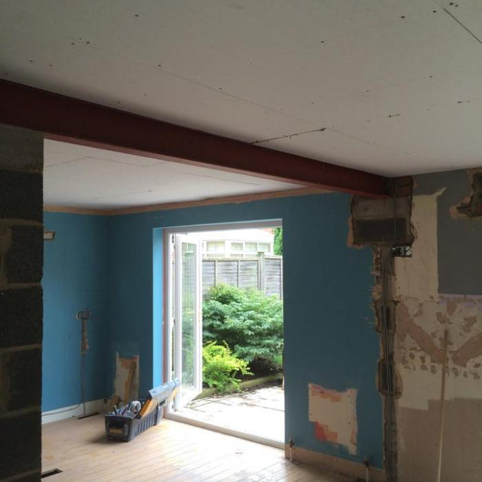 Team Dryfix have taken down these internal load bearing walls and provided support to the first floor walls and floors above to extend a kitchen and dining room into one room. All our work has now been  inspected and signed off by Building Control meaning a happy client who now looking forward to a new kitchen.