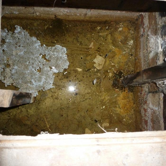 Standing water beneath a timber suspended floor in a York property. Again this is a frequent occurence due to the property being constructed on clay ground.