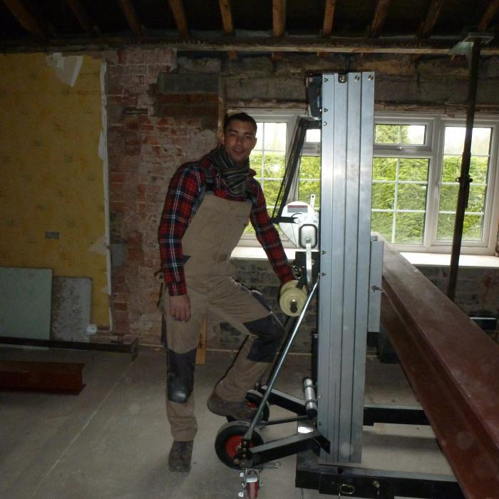 Dryfix M.D. and Surveyor Russell Rafton onsite to supervise and lend a hand during huge steel installation. 