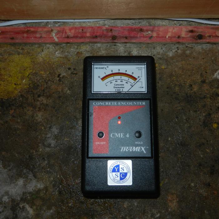 Our non-destructive Tramex moisture meter designed to measure the moisture content of concrete floors.  Unlike other electronic moisture meters the Tamex is calibrated and designed to be used with concrete therefore its readings are far more accurate than a standard electronic moisture meter used in WME or radio frequency mode, where readings can be unreliable and vary dramatically. The tramex therefore proves to be an ideal tool for pre-purchase and other non destructive investigations where normally a destructive  calcium carbide meter would have been the only accurate method of testing.
