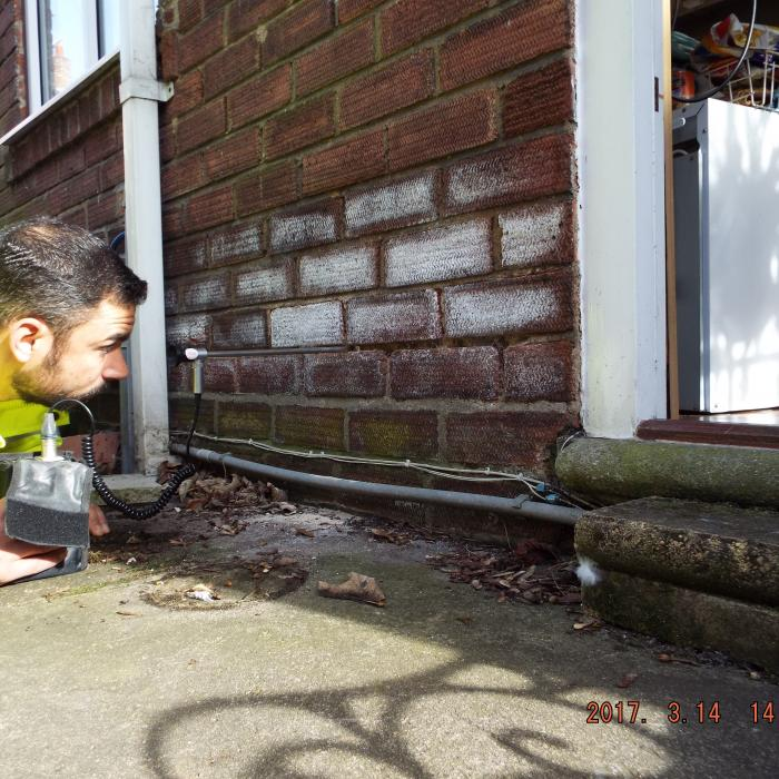 Cavity wall inspection to determine cause of extensive efflorescent to the brickwork.