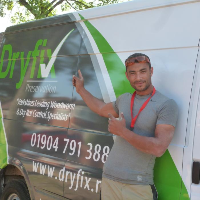 Just taken delivery of our third van. This van is James's and has been coloured green to represent our woodworm and dry rot services. Looks fantastic.