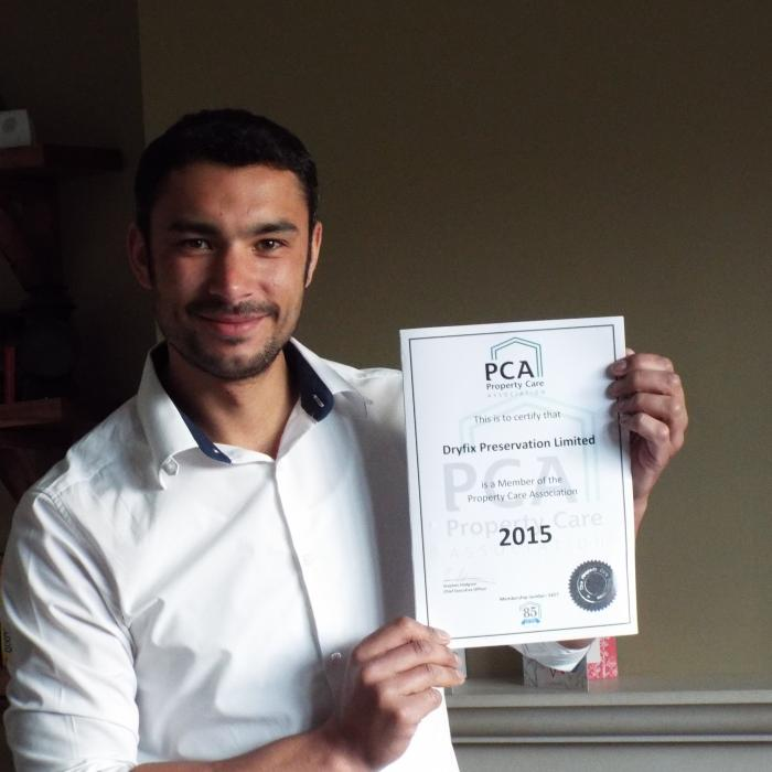 Director Russell Rafton proud to present the companys new Property Care Association Certificate for 2015!