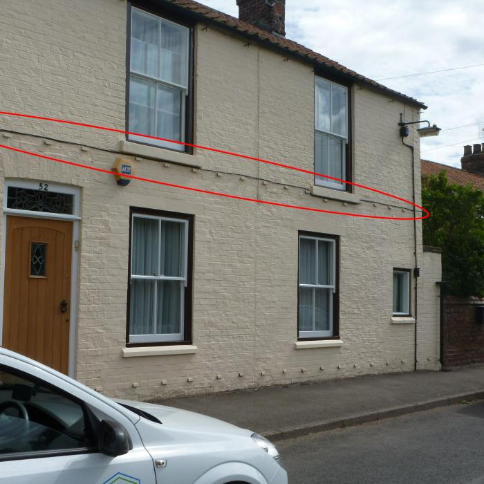When I saw this I just had to pull over and take this picture. This contractor had obviously discovered this building not only had a problem with rising damp on the ground floor but also on the first floor too and decided it would be a good idea to install a Dutch damp proof course system to both floor levels. Unfortunately I never got to meet the owner of this property, which is probably for the best as I don't think they really needed me to explain they had wasted all their money. For a review of the Dutch system used on this property read our blog: http://www.dryfix.net/blog/a-review-of-the-dutch-green-chemical-free-damp-proof-system-apparently-installed-without-the-mess-of-replastering/
