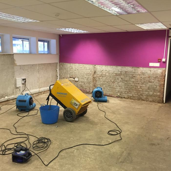 Specialist drying system installed into this basement of a large estate agents in York. The system is designed to  dry  the property prior to reinstatement following the devastating floods over Christmas 2016.