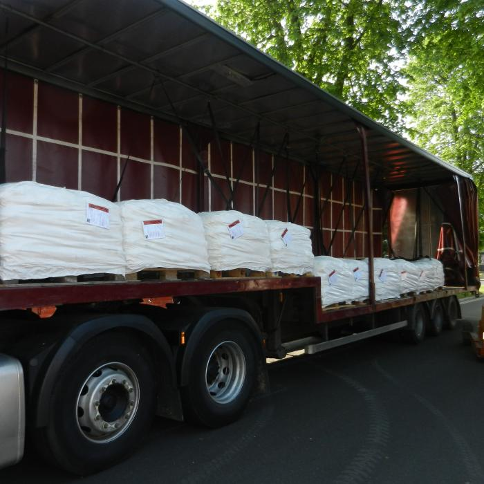 Huge delivery today 21.5 tonne of specialist water proof plaster ordered for a project starting in North Yorkshire next week.