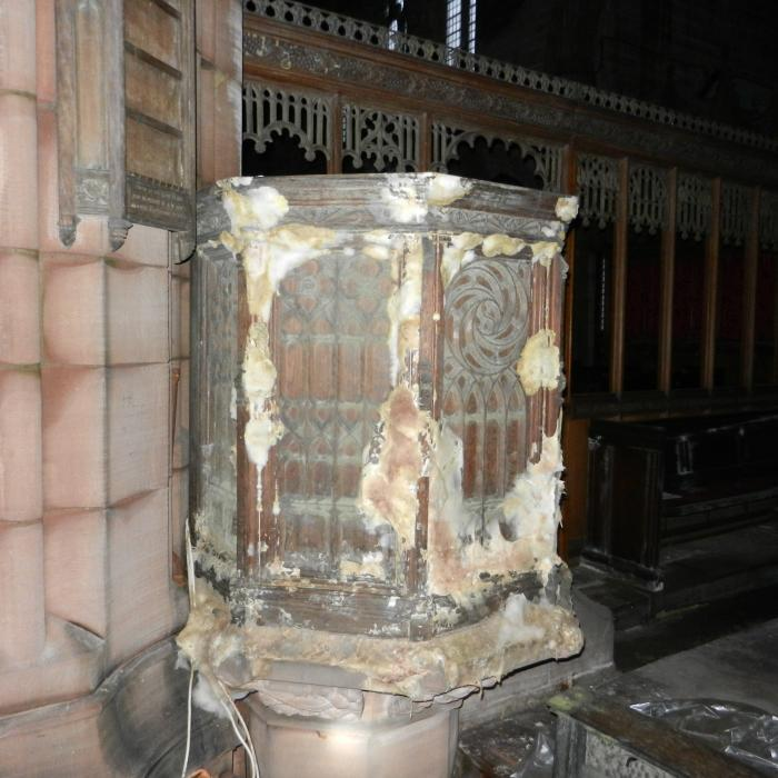 Extensive Dry Rot attack of a church pulpit.