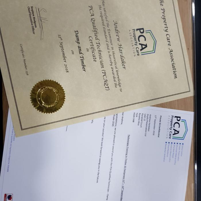 Lots of certificates arriving in the post today - Andrew's passed his PCAQT with the PCA (Property Care Association) and Roberts Certificates arrived from York College for completing his level two in plastering. Well done Andrew and Rob!