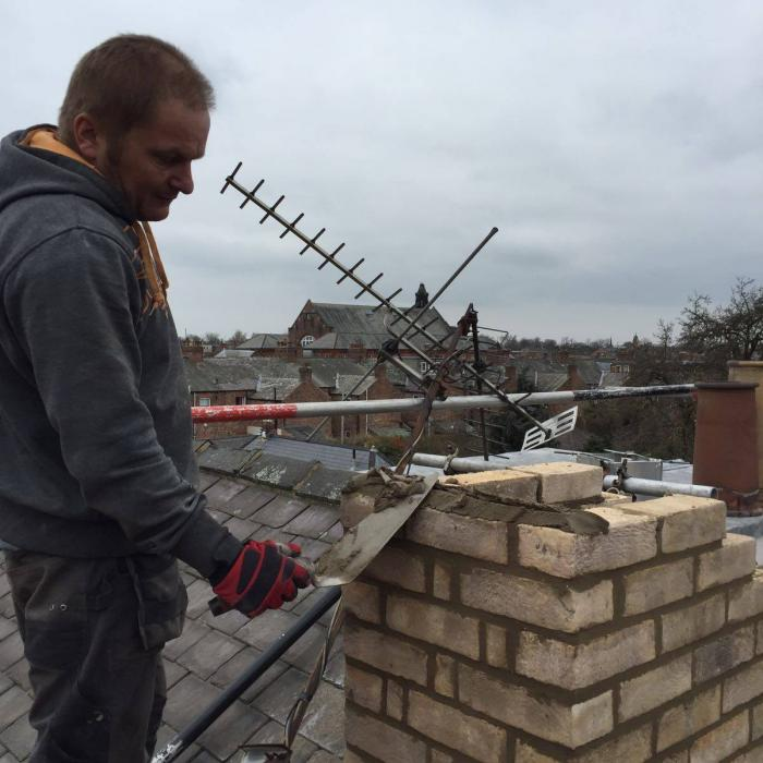 Our top bricklayer Alan is rebuilding a chimney on a period property in York . Our staff aren't just remedial technicians, they're top tradesmen too!