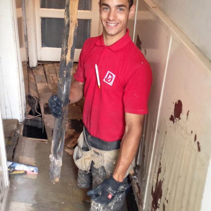 Frasers looking very happy with himself in this photo as he gets stuck into removing dangerously rotten floor. Unfortunately this floor belonged to a lady who had been precariously walking aside the edge after the floor collapsed as it was the only access she had to her front door. Obviously an emergency job so we sent out award winning joiners to resolve her damp issues and install a new floor ASAP. Dryfix, now the 5th emergency service!