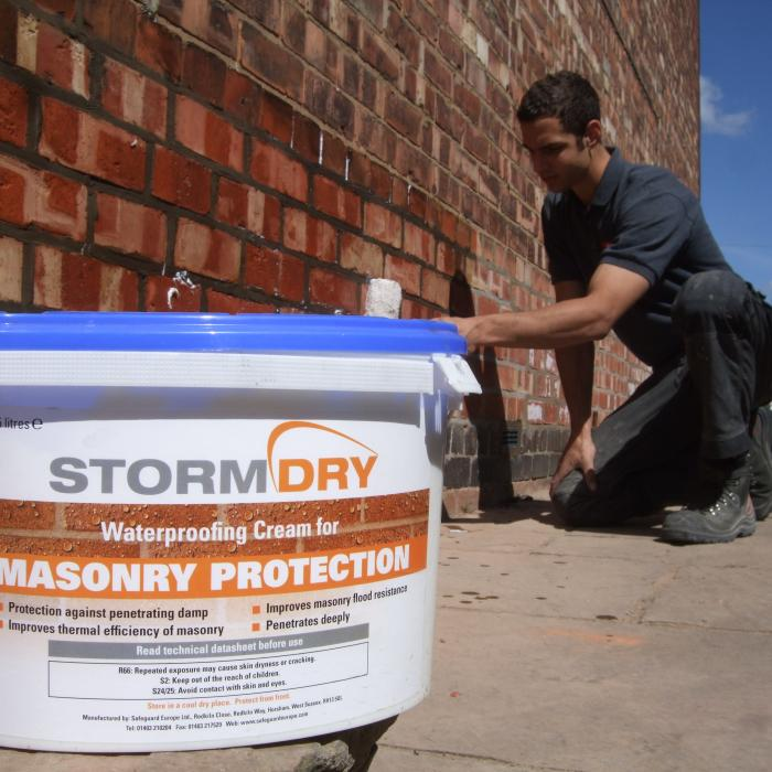 One of our technicians Fraser Rafton recently awarded 'Employee of the year' at the Property Care Association Awards 2014. Fraser is applying StormDry a masonry water repellent to recently repaired brickwork to the exposed gable elevation of a York property to provide further protection to the brickwork against spawling during the winter months.