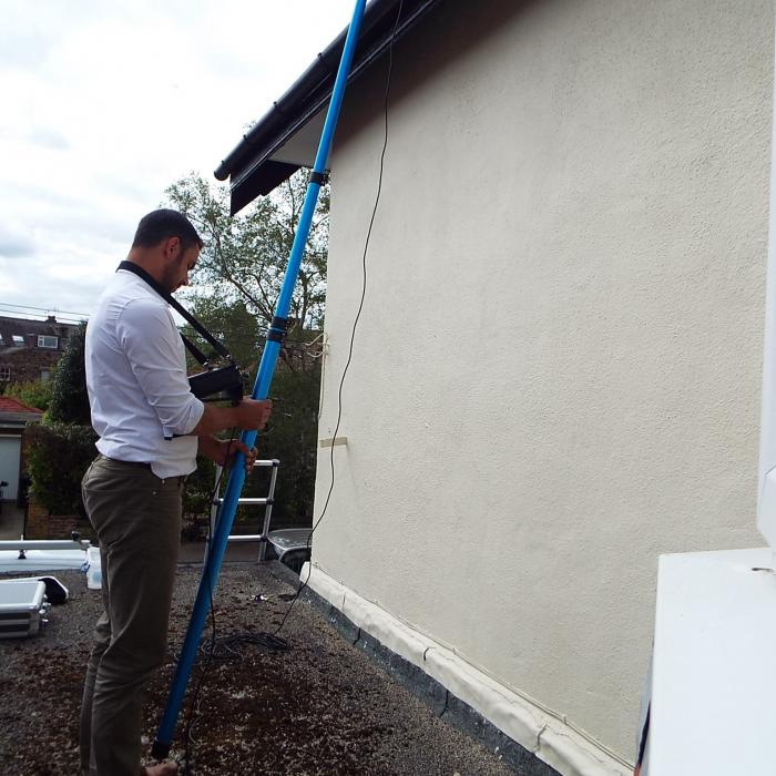 Pole camera inspection of a chimney and roof using our remote cameras and DVR tv screens. Our specialist survey equipment means that no area is inaccessible for inspection.