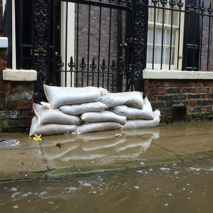 Sand bags used in Peckitt Street, York to help prevent flooding of domestic properties during severe floods in 2012.