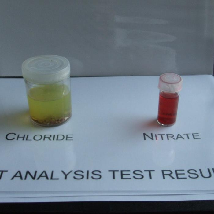 Salt analysis test used to determine the presence of ground water chloride and nitrate salts within masonry walls and plaster. Ground water salts can only arrive in masonry walls through the upward movement of ground water carrying these salts through the structure in solution and deposited at the highest point which damp affects the wall, within the evaporation line.