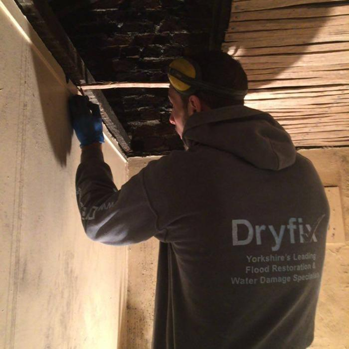 Our top joiner Fraser installing new oak laths during replacement of this traditional lath and lime plaster ceiling in Wakefield. Our staff aren't just remedial technicians, they're top tradesmen too!