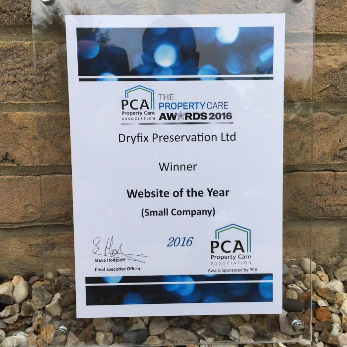We've done it again! 3 Years in a row Winners at the Property Care Association Awards 2016! This year we're Winners for Best Website of the Year, awarded for the work and effort we've put into creating our own software platform to help run the administration side of the business. Feeling very proud, but don't worry we're not resting on our recent achievements, new ideas are in the design stage which will hopefully once again see us setting new trends in the surveying industry and laying the path for others to follow. Dryfix Preservation setting industry standards at a National level and Winners at the Property Care Association Awards three years in a row, what a Team!