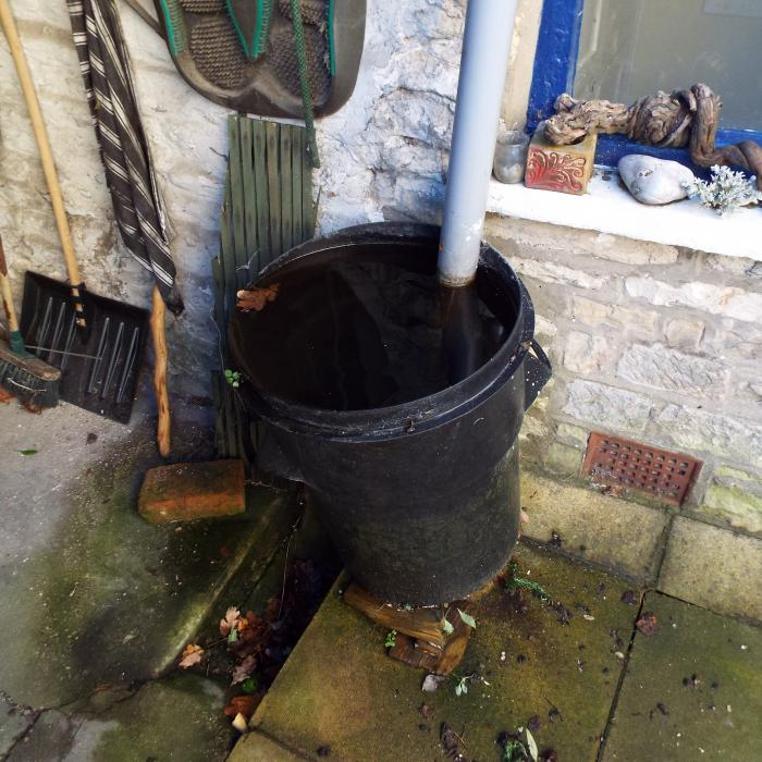 Water butts are not an easily manageable way of removing rainwater from the roof covering. Water butts become filled very quickly which often goes unnoticed and results in them overflowing and flooding of pathways with the potential to cause damp in nearby walls.